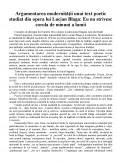 Imagine document Argumentarea modernitatii din opera lui Lucian Blaga - Eu nu strivesc corola de minuni a lumii