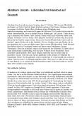 Imagine document Abraham Lincoln Lebenslauf Mit Handout Auf Deutsch Die Kindheit Der Politische Aufstieg