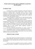 Metode Moderne pentru Selectia Candidatilor la Posturile si Functiile Publice