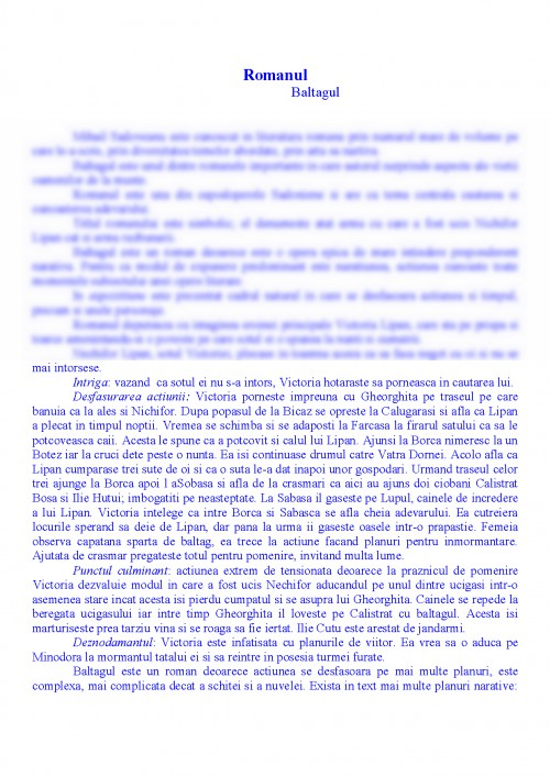 Referat Romanul Baltagul 338656 Graduo
