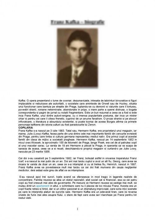 pagina 1 - Franz Kafka Lebenslauf
