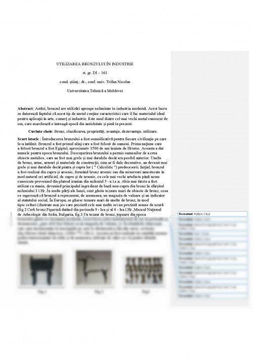 Referat utilizarea bronzului in industrie 480720 graduo for Casa moderna referat